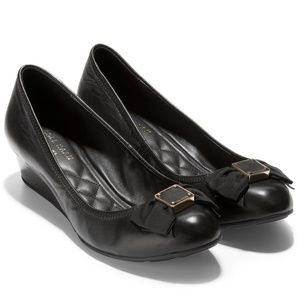 Cole Haan Tali Soft Bow Wedge Black Leather Shoes